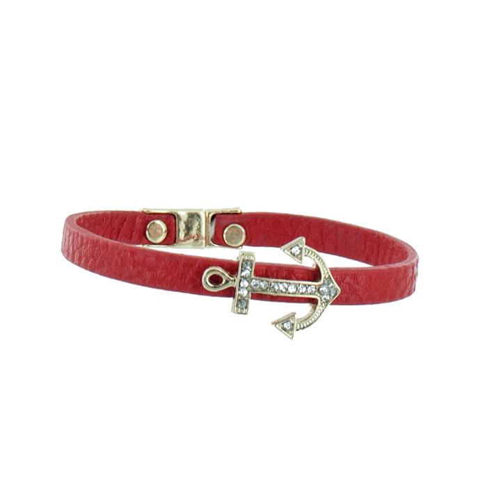 Браслет женский Taya, цвет: золото, красный. T-B-5514-BRAC-GL.REDT-B-5514-BRAC-GL.REDЯркий красный, очень изящный кожаный браслет с нежной вставкой в форме якоря, инкрустированного мелкими прозрачными стразами. Застежка-магнит. Размеры: Ширина браслета 6-7 см, длина браслета 18 см.