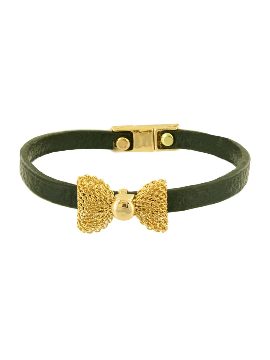Браслет женский Taya, цвет: золотой, темно-зеленый. T-B-6349-BRAC-GL.BLACKT-B-6349-BRAC-GL.BLACKИзящный кожаный браслет с нежным бантиком из золотой сеточки, застегивается на очень удобную магнитную застежку.
