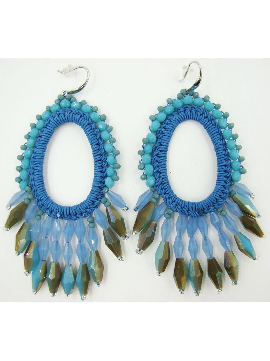 Серьги женские Taya, цвет: синий. T-B-9559-EARR-BLUET-B-9559-EARR-BLUEСерьги с замком-петлёй с силиконовой заглушкой. Размеры: 8,7 * 4,0 см