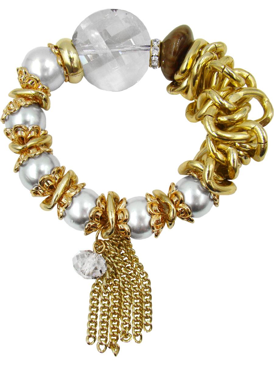 Браслет женский Taya, цвет: золотой. T-B-9970-BRAC-GOLDT-B-9970-BRAC-GOLDКреативный браслет в стиле бохо. Каждая жемчужина этого браслета, будь она белого или серого цвета, обрамлена роскошными золотыми чашечками-лепестками. Огранка самого крупного кристалла позволяет вглядываться в него, как в необычное зеркало.