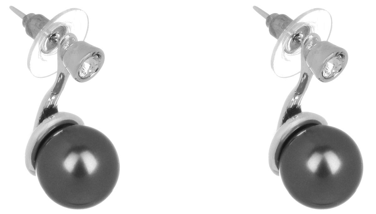 Jenavi, Коллекция Триада, Эпасэ (Пуссеты), цвет - серебро, черныйf69338h6Коллекция Триада, Эпасэ (Пуссеты) гипоаллергенный ювелирный сплав,Черненое серебро, вставка Жемчуг Swarovski , цвет - серебро, черный