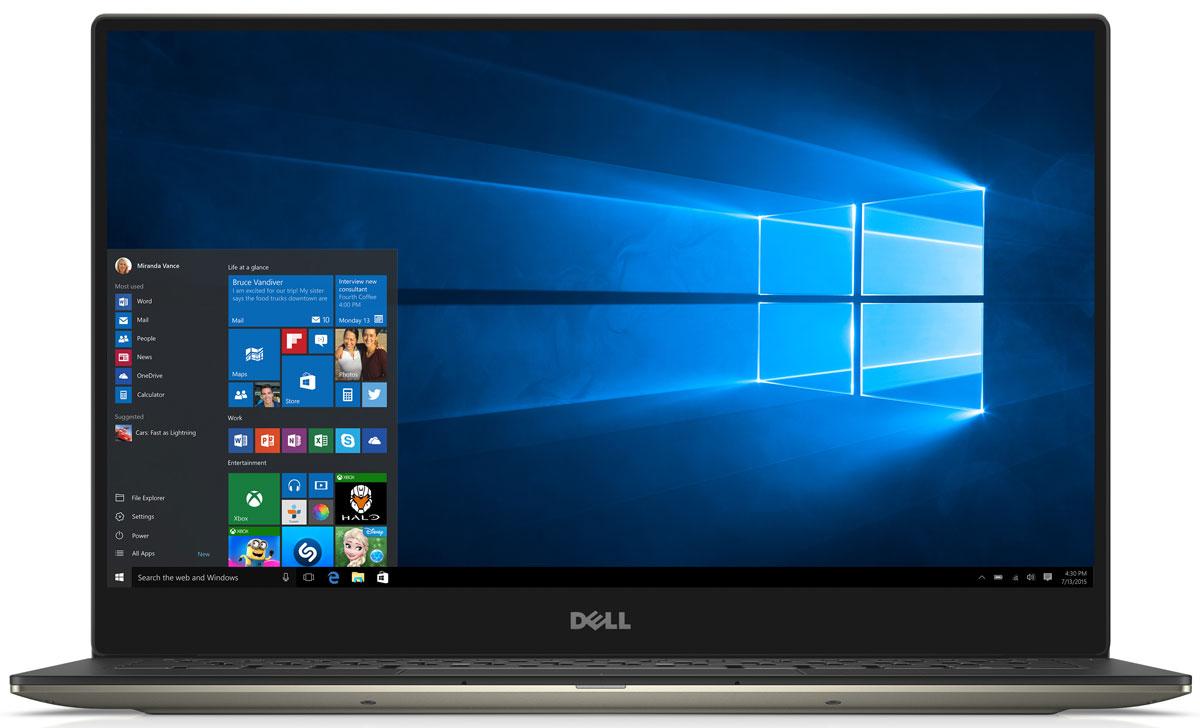 Dell XPS 13 (9350-5483), Gold9350-5483Dell XPS 13 - компактный и стильный ноутбук с безрамочным дисплеем. Тонкая лицевая панель монитора увеличивает пространство экрана в этой инновационной конструкции. Трехсторонний, практически безграничный дисплей обладает миниатюрной рамкой шириной всего 5,2 мм - это самая тонкая среди рамок ноутбуков. Благодаря тонкой панели шириной менее 2% от общей поверхности дисплея экран становится значительно больше. Четкое изображение обеспечивается при просмотре практически под любым углом благодаря панели IPS IGZO2, обеспечивающей широкий угол обзора до 170°. Новые процессоры Intel Core i7 обеспечивают высокую скорость запуска, четкость и усовершенствованную графику. Загрузка и возобновление XPS 13 выполняются за считанные секунды благодаря стандартному твердотельному накопителю и технологии Intel Rapid Start. Используйте жесты уменьшения, масштабирования и нажатия с высокой степенью точности: усовершенствованная сенсорная панель обеспечивает...