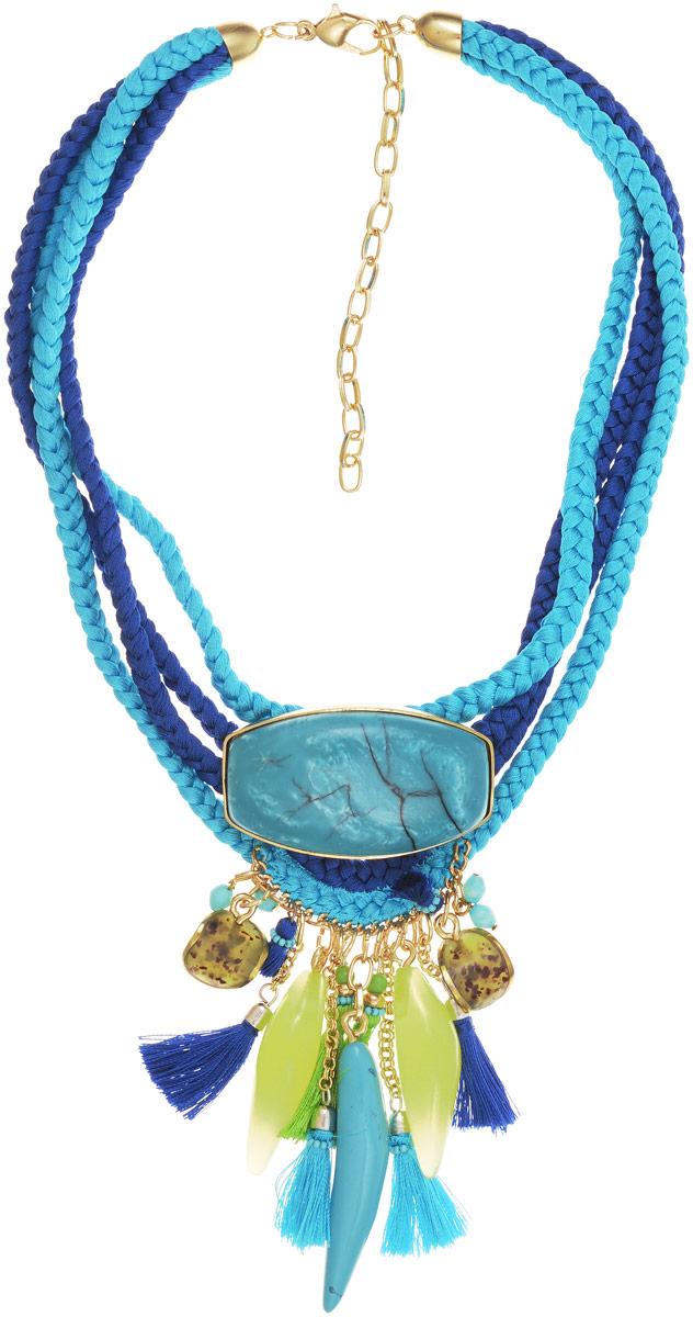 Колье Selena Vista Mara, цвет: бирюзовый, зеленый, синий. 1010083110100831Колье Selena Vista Mara выполнено из текстиля, ювелирной смолы и латуни с гальваническим покрытием золотом. В нем сочетаются выразительные крупные формы с нежной вставкой из ювелирной смолы, искусно имитирующей ценный камень - бирюзу. В этом колье вы всегда будете выглядеть женственно, привлекательно и оригинально. Выразительный декор делают его ярким и заметным украшением, которое обязательно привлечет внимание к вашей персоне. Колье оснащено удобным замком-карабином. Лигурийское побережье вдохновило итальянских дизайнеров на создание завораживающей коллекции украшений Vista Mara. Итальянская ривьера славится нарядными парками и садами с тропической растительностью, роскошными ресторанами и казино, весёлой и праздничной атмосферой. Украшения Vista Mara заключили в себе характер этого райского места. Любовь, страсть и вдохновение - такие эмоции вызывает эта коллекция!