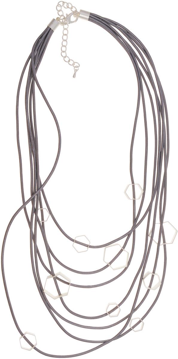 Колье Selena Street Fashion, цвет: серебристый. 1010108110101081Оригинальное колье Selena Street Fashion , выполнено из натуральной кожи и металла с гальваническим покрытием родием. Колье застегивается на металлический замок-карабин, длина регулируется. Изящное колье придаст вашему образу изюминку, подчеркнет красоту и изящество вечернего платья или преобразит повседневный наряд. Новый день - новая я - новое украшение! Так звучит девиз коллекции Street Fashion. Если вы цените разнообразие, то непременно влюбитесь в эту коллекцию, ведь иногда, чтобы изменить образ, достаточно просто сменить колье. Свидание, вечеринки, семейный ужин или офисные будни - в этой коллекции есть украшения на любой случай повседневной жизни, достаточно положить в сумочку лишнюю пару сережек и колье.