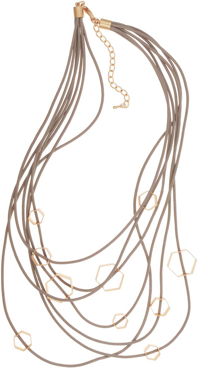 Колье Selena Street Fashion, цвет: бежевый, золотистый. 1010107110101071Оригинальное колье Selena Street Fashion , выполнено из натуральной кожи и металла с гальваническим покрытием золотом. Колье застегивается на металлический замок-карабин, длина регулируется. Изящное колье придаст вашему образу изюминку, подчеркнет красоту и изящество вечернего платья или преобразит повседневный наряд. Новый день - новая я - новое украшение! Так звучит девиз коллекции Street Fashion. Если вы цените разнообразие, то непременно влюбитесь в эту коллекцию, ведь иногда, чтобы изменить образ, достаточно просто сменить колье. Свидание, вечеринки, семейный ужин или офисные будни - в этой коллекции есть украшения на любой случай повседневной жизни, достаточно положить в сумочку лишнюю пару сережек и колье.