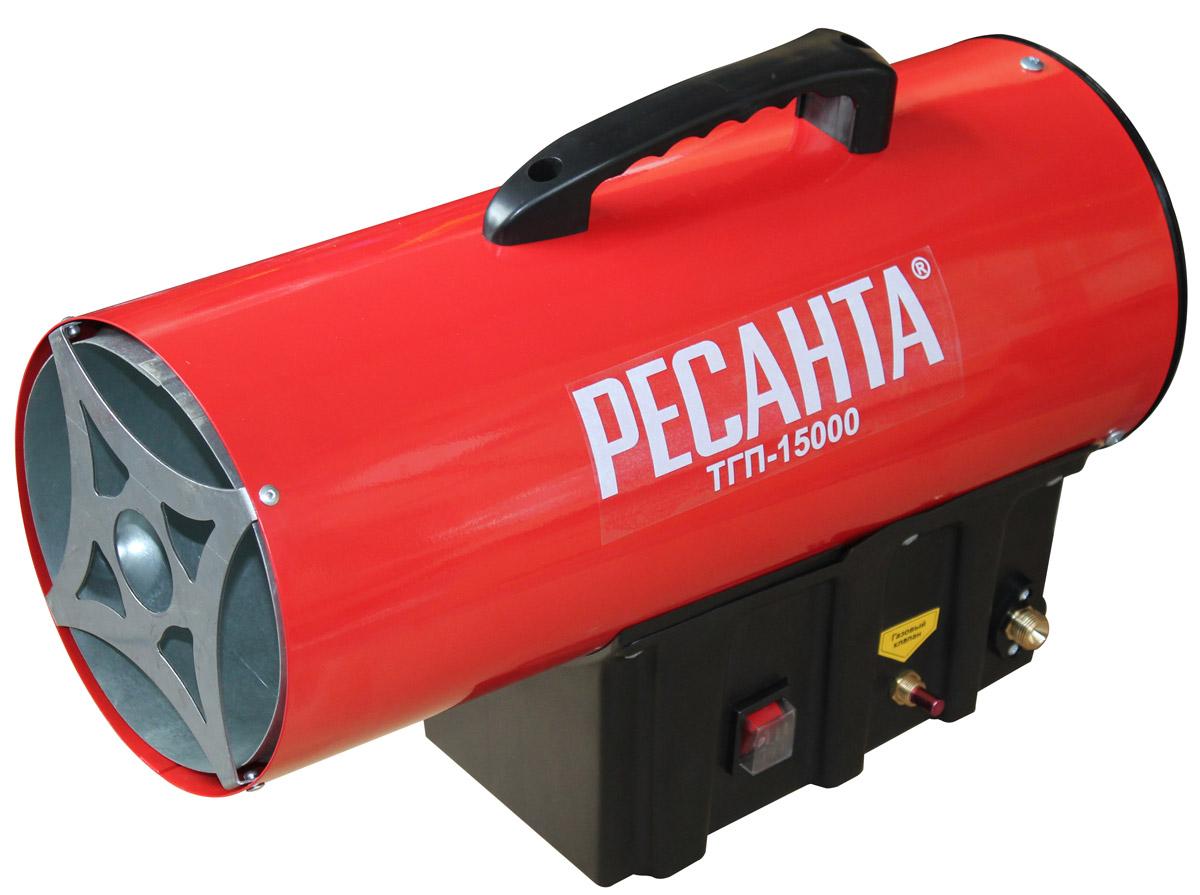 Ресанта ТГП-15000 тепловая газовая пушка67/1/14Мощность тепловая - 18 кВт Давление газа - 0,3 бар Расход топлива - 1,2 кг/час Защита от перегрева - 95 оС Напряжение сети - 220±10% В