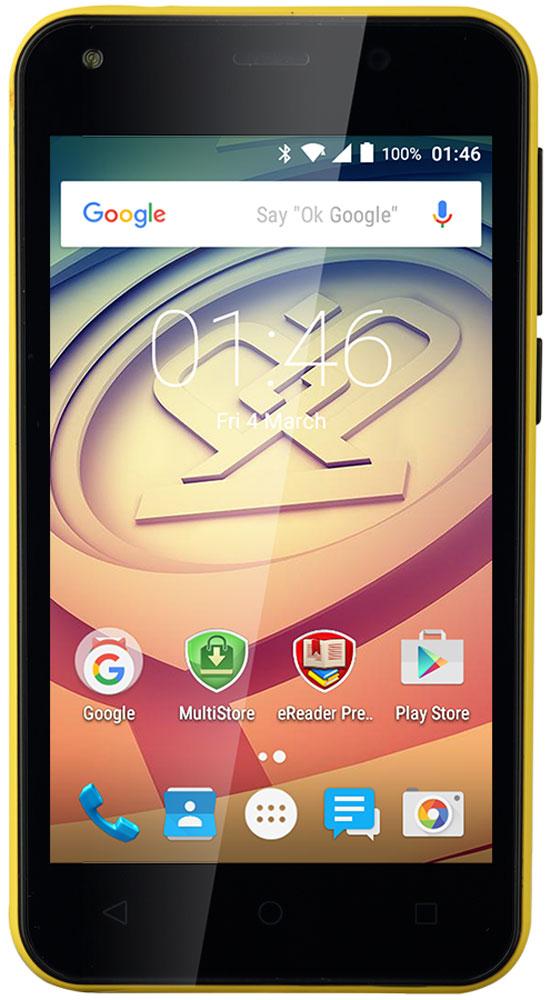 Prestigio Wize L3, YellowPSP3403DUOYELLOWЛетнее настроение - секретный компонент Wize L3. Он яркий, стильный и заметный! Достаточно мощный для повседневных задач, таких как просмотр, чтение, работа и игры, он доступный по цене, и благодаря поддержке двух SIM-карт поможет экономить деньги в течение всего периода использования смартфона. Просто наслаждайтесь собственным ритмом жизни и оставайтесь стильным! Wize L3 имеет удобный 4-дюймовый дисплей с живыми цветами. Наслаждайтесь играми и другими приложениями, читайте, работайте и отдыхайте с компактным устройством, которое легко помещается даже в небольшой карман. Больше не нужно справляться с огромным девайсом - все задачи решаются с помощью одной руки. Получайте лучший пользовательский опыт благодаря высокопроизводительному четырехъядерному процессору и умному Android 5.1. Lollipop. Увеличение скорости и мощности обеспечивают действительно плавную работу и хороший отклик. Серфите в интернете, работайте с документами и общайтесь с...