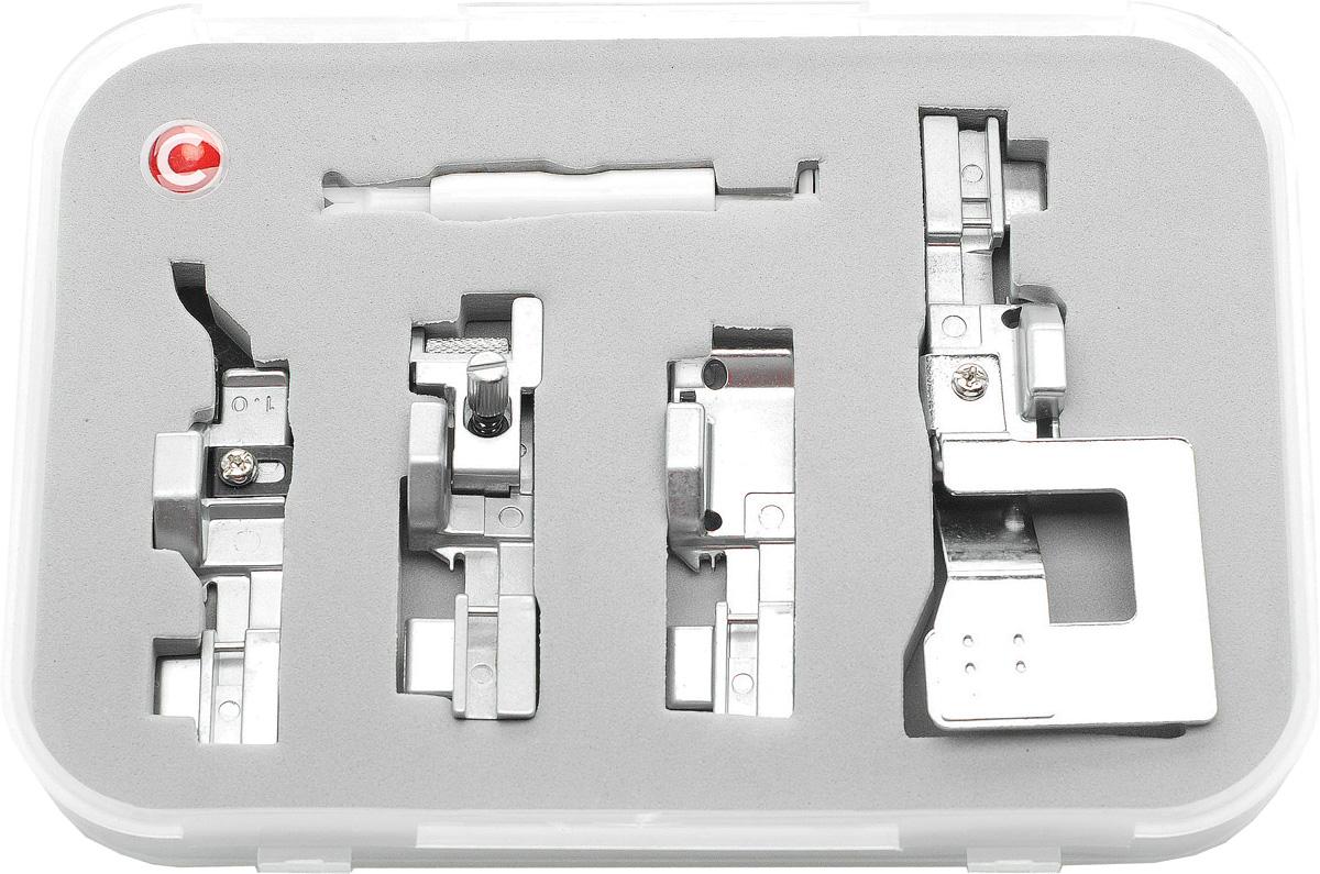 Comfort 05-15 набор лапок для оверлока Comfort 110 (4 шт)Comfort 05-15Набор состоит из нитевдевателя и 4-х лапок для оверлоков Comfort 05-15. - Лапка для потайной строчки. Лапка применяется для пошива поясов трикотажных изделий и выполнения невидимых строчек на изделиях. - Лапка для сосбаривания. Лапка применяется для пошива ступенчатых юбок, оборок, корсажей и т. д. Лапка применяется также для сшивания двух слоев ткани в складку в одну операцию. - Лапка для пришивания резинки. Эта лапка используется для вшивания резинки. - Лапка для прокладывания канта. Применяется для прокладывания шнура и канта между двумя кусками материала. Набор подходит для оверлоков: Comfort 110 Comfort 140 Comfort 150 Jaguar 055 Jaguar 087DW