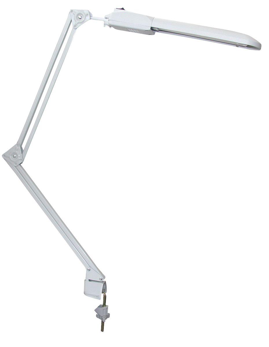 Светильник Трансвит Дельта, цвет: белый4607053880595Энергосберегающие светильники серии Дельта с компактной люминесцентной лампой типа FSD-11/40/ 1B-I-G23 (или аналогичной лампой других фирм) для создания высокого светового комфорта на учебных и рабочих местах, в местах чтения и отдыха и т.д. Питание лампы осуществляется от источника электропитания адаптерного типа. Конструкция светильников допускает установку плафона во всех плоскостях. Отражатель светильников обеспечивает равномерное освещение поверхности. Модификация: настольные - на подставке; пристраиваемые - на струбцине (с двойной и укороченной стойкой); настенные - крепление на планку к стене. Тип светильника: настольная лампа. Источник света: компактная люминесцентная лампа. Мощность лампы: 11 Вт. Тип цоколя: G23. Материал корпуса: пластик. С диммером: нет. С выключателем: да. Класс защиты от поражения электрическим током: II. В комплекте с лампой: да. Цвет корпуса: белый.