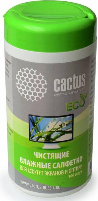 Cactus CS-T1001E салфетки для экранов и оптики, 100 шт