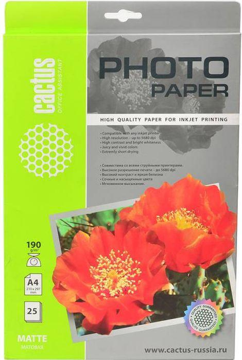 Cactus CS-MA419025 A4/190г/м2 матовая фотобумага для струйной печати (25 листов)CS-MA419025Фотобумага Cactus CS-MA419025 с матовым покрытием для струйной печати. Запечатлевайте лучшие мгновения вашей жизни в сочных и насыщенных цветах. Представляйте яркие и красочные презентации. Наслаждайтесь отпечатками высочайшего качества. Матовая бумага Cactus идеально подходит для печати графиков и презентаций. На бумагах невысокой плотностей удобно делать многостраничные отчеты. Матовая бумага будет незаменима при печати приглашений, бизнес-писем, оригиналов важных документов и меню. Также эта бумага идеально подходит для печати фото на документы.
