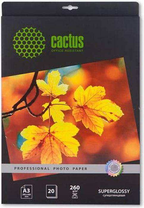 Cactus Prof CS-HGA326020 A3/260г/м2 глянцевая фотобумага для струйной печати (20 листов)