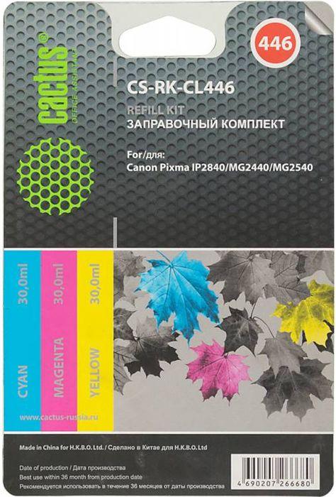 Cactus CS-RK-CL446, Color заправочный набор для Canon Pixma MG2440/MG2541CS-RK-CL446Заправка Cactus CS-RK-CL446 для перезаправляемых картриджей Canon Pixma MG2440/MG2541. Расходные материалы Cactus для печати максимизируют характеристики принтера. Обеспечивают повышенную четкость изображения и плавность переходов оттенков и полутонов, позволяют отображать мельчайшие детали изображения. Обеспечивают надежное качество печати.