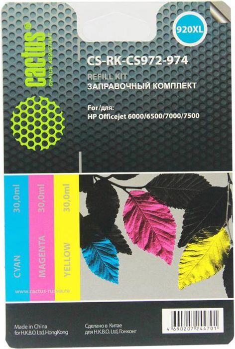 Cactus CS-RK-CS972-974, Color заправочный набор для HP Officejet 6000/6500/7000/7500 (3 х 30 мл)CS-RK-CS972-974Заправочный набор Cactus CS-RK-CS972-974 цветной (3x30мл) HP Officejet 6000/6500/7000/7500