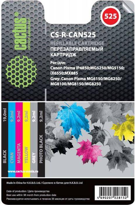 Cactus CS-R-CAN525 комплект перезаправляемых струйных картриджей для Canon PIXMA iP4850/MG5250/MG5150/iX6550/MX885CS-R-CAN525Комплект струйных картриджей Cactus CS-R-CAN525 для перезаправляемых принтеров Canon PIXMA iP4850/MG5250/MG5150/iX6550/MX885. Расходные материалы Cactus для печати максимизируют характеристики принтера. Обеспечивают повышенную четкость изображения и плавность переходов оттенков и полутонов, позволяют отображать мельчайшие детали изображения. Обеспечивают надежное качество печати. Цвета картриджей: черный, голубой, пурпурный, желтый, серый, черный фото.