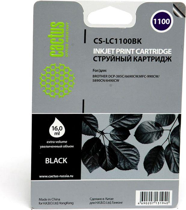 Cactus CS-LC1100BK, Black картридж струйный для Brother DCP-385c/6690cw/MFC-990/5890/5895/6490