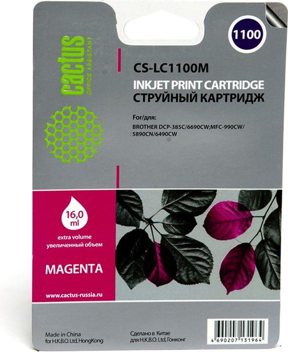 Cactus CS-LC1100M, Magenta картридж струйный для Brother DCP-385c/6690cw/MFC-990/5890/5895/6490