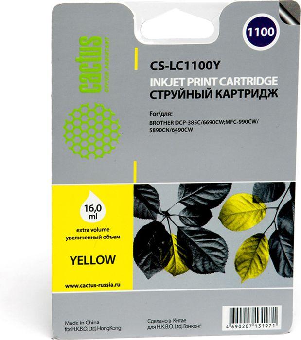 Cactus CS-LC1100Y, Yellow картридж струйный для Brother DCP-385c/6690cw/MFC-990/5890/5895/6490
