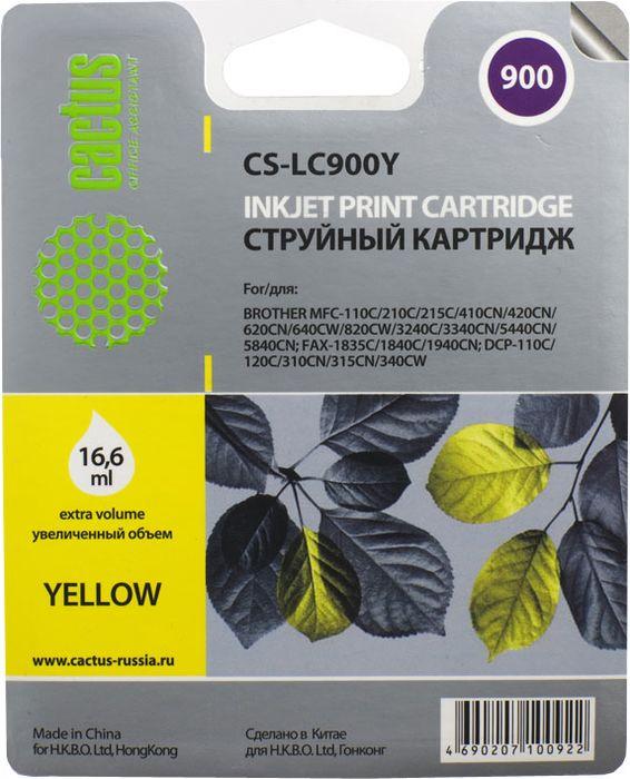 Cactus CS-LC900Y, Yellow картридж струйный для Brother DCP-110/115/120/MFC-210/215/FAX-1840