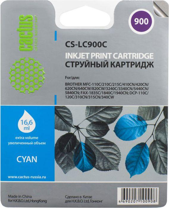 Cactus CS-LC900С, Cyan картридж струйный для Brother DCP-110/115/120/MFC-210/215/FAX-1840
