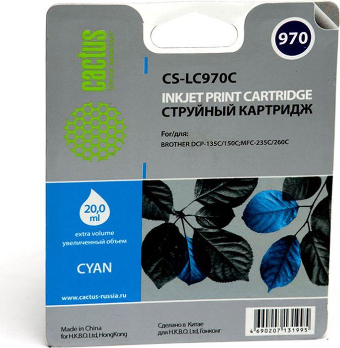 Cactus CS-LC970C, Cyan картридж струйный для Brother DCP-135C/150C/MFC-235C/260C