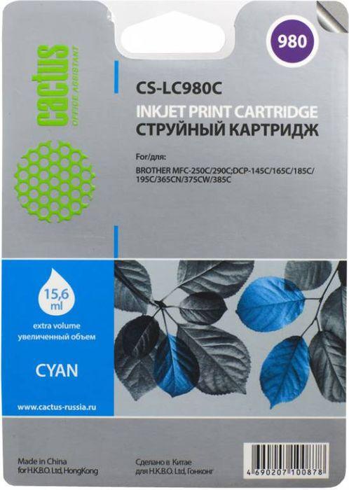 Cactus CS-LC980C, Cyan картридж струйный для Brother DCP-145C/165C/MFC-250C/290C
