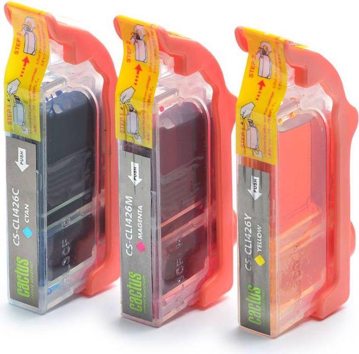 Cactus CS-CLI426C/M/Y, Cyan Magenta Yellow набор струйных картриджей для Canon MG5140/5240/6140/8140/MX884