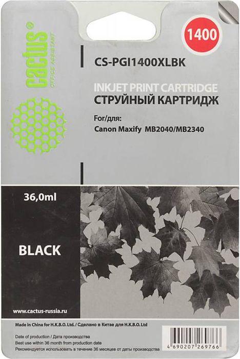 Cactus CS-PGI1400XLBK, Black картридж струйный для Canon MB2050/MB2350/MB2040/MB2340CS-PGI1400XLBKКартридж Cactus CS-PGI1400XLBK для струйных принтеров Canon MB2050/MB2350/MB2040/MB2340. Расходные материалы Cactus для печати максимизируют характеристики принтера. Обеспечивают повышенную четкость изображения и плавность переходов оттенков и полутонов, позволяют отображать мельчайшие детали изображения. Обеспечивают надежное качество печати.