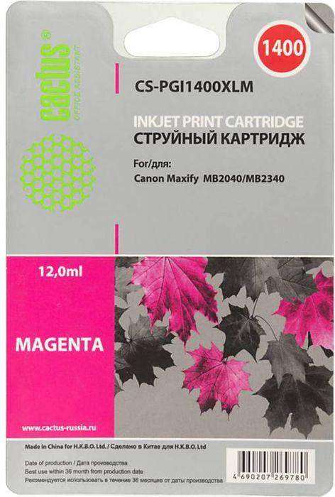 Cactus CS-PGI1400XLM, Magenta картридж струйный для Canon MB2050/MB2350/MB2040/MB2340CS-PGI1400XLMКартридж Cactus CS-PGI1400XLM для струйных принтеров Canon MB2050/MB2350/MB2040/MB2340. Расходные материалы Cactus для печати максимизируют характеристики принтера. Обеспечивают повышенную четкость изображения и плавность переходов оттенков и полутонов, позволяют отображать мельчайшие детали изображения. Обеспечивают надежное качество печати.