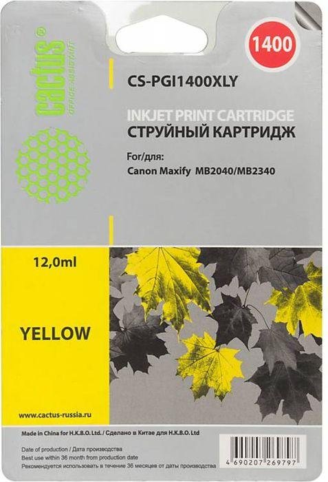 Cactus CS-PGI1400XLY, Yellow картридж струйный для HP Canon MB2050/MB2350/MB2040/MB2340CS-PGI1400XLYКартридж струйный Cactus CS-PGI1400XLY желтый для HP Canon MB2050/MB2350/MB2040/MB2340 (11.5мл)