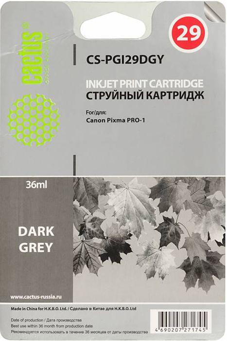 Cactus CS-PGI29DGY, Dark Gray картридж струйный для Canon Pixma Pro-1CS-PGI29DGYКартридж Cactus CS-PGI29DGY для струйных принтеров Canon Pixma Pro-1. Расходные материалы Cactus для печати максимизируют характеристики принтера. Обеспечивают повышенную четкость изображения и плавность переходов оттенков и полутонов, позволяют отображать мельчайшие детали изображения. Обеспечивают надежное качество печати.