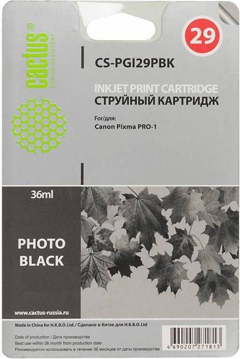 Cactus CS-PGI29PBK, Photo Black картридж струйный для Canon Pixma Pro-1CS-PGI29PBKКартридж Cactus CS-PGI29PBK для струйных принтеров Canon Pixma Pro-1. Расходные материалы Cactus для печати максимизируют характеристики принтера. Обеспечивают повышенную четкость изображения и плавность переходов оттенков и полутонов, позволяют отображать мельчайшие детали изображения. Обеспечивают надежное качество печати.