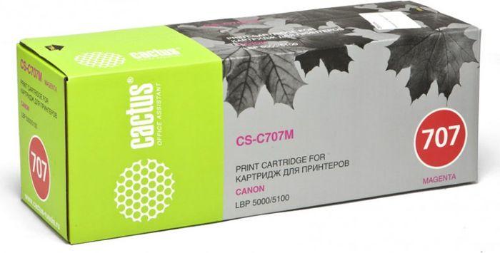 Cactus CS-C707M, Magenta тонер-картридж для Canon LBP i-Sensys 5000/5100CS-C707MТонер Картридж Cactus CS-C707M пурпурный для Canon LBP i-Sensys 5000/5100 (2000стр.)