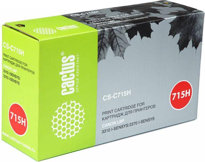 Cactus CS-C715H, Black тонер-картридж для Canon i-Sensys 3310/3370CS-C715HТонер-картридж Cactus CS-C715H для лазерных принтеров Canon i-Sensys 3310/3370. Расходные материалы Cactus для лазерной печати максимизируют характеристики принтера. Обеспечивают повышенную чёткость чёрного текста и плавность переходов оттенков серого цвета и полутонов, позволяют отображать мельчайшие детали изображения. Гарантируют надежное качество печати.