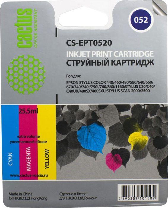Cactus CS-EPT0520, Color картридж струйный для Epson Stylus Color 400/440/460/600/640/650/660/670/700/740/760/800