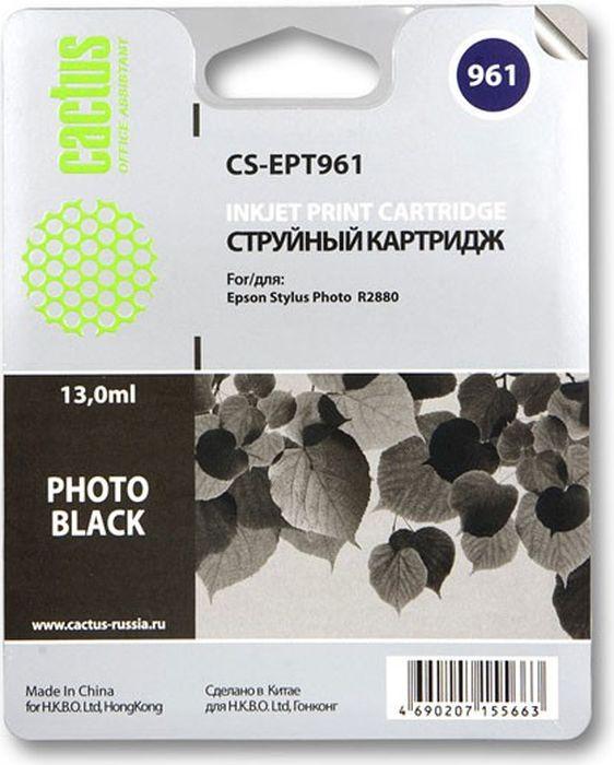 Cactus CS-EPT961, Photo Black картридж струйный для Epson Stylus Photo R2880CS-EPT961Картридж Cactus S-EPT961 для струйных принтеров Epson Stylus Photo R2880. Расходные материалы Cactus для печати максимизируют характеристики принтера. Обеспечивают повышенную четкость изображения и плавность переходов оттенков и полутонов, позволяют отображать мельчайшие детали изображения. Обеспечивают надежное качество печати.