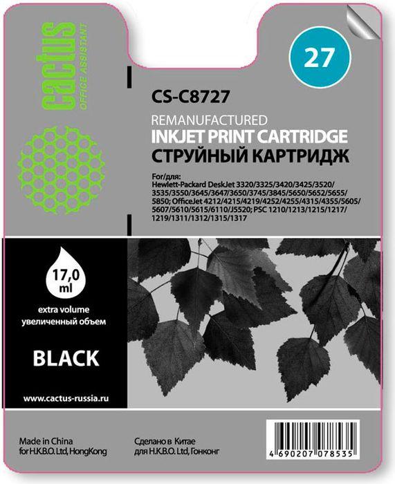 Cactus CS-C8727 №27, Black картридж струйный для HP DJ 3320/3325/3420/3425/3520CS-C8727Картридж Cactus CS-C8727 №27 для струйных принтеров HP DJ 3320/3325/3420/3425/3520. Расходные материалы Cactus для печати максимизируют характеристики принтера. Обеспечивают повышенную четкость изображения и плавность переходов оттенков и полутонов, позволяют отображать мельчайшие детали изображения. Обеспечивают надежное качество печати.