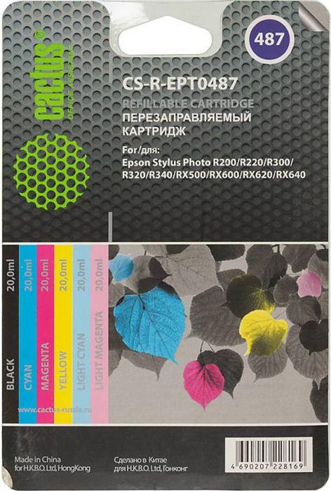 Cactus CS-R-EPT0487 комплект перезаправляемых струйных картриджей для Epson SеPh R200/R220/R300CS-R-EPT0487Комплект струйных картриджей Cactus CS-R-EPT0487 для перезаправляемых принтеров Epson SеPh R200/R220/R300. Расходные материалы Cactus для печати максимизируют характеристики принтера. Обеспечивают повышенную четкость изображения и плавность переходов оттенков и полутонов, позволяют отображать мельчайшие детали изображения. Обеспечивают надежное качество печати. Цвета картриджей: черный, голубой, пурпурный, желтый, светло-голубой, светло-пурпурный.