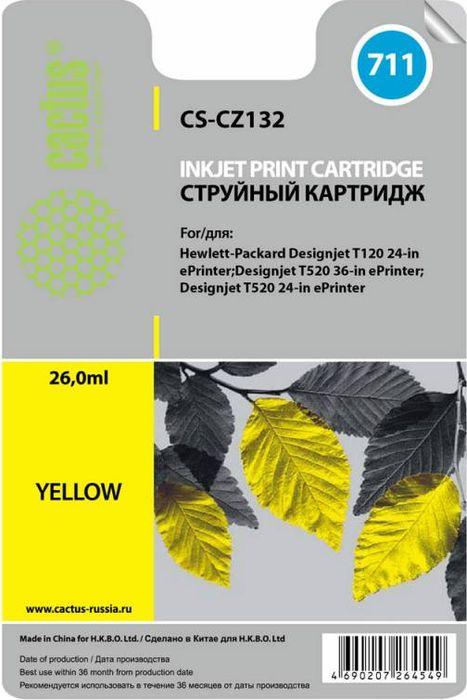 Cactus CS-CZ132 №711, Yellow картридж струйный для HP DJ T120/T520CS-CZ132Картридж Cactus CS-CZ132 №711 для струйных принтеров HP DJ T120/T520. Расходные материалы Cactus для печати максимизируют характеристики принтера. Обеспечивают повышенную четкость изображения и плавность переходов оттенков и полутонов, позволяют отображать мельчайшие детали изображения. Обеспечивают надежное качество печати.
