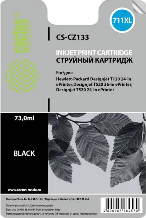 Cactus CS-CZ133 №711, Black картридж струйный для HP DJ T120/T520CS-CZ133Картридж струйный Cactus CS-CZ133 №711 черный для HP DJ T120/T520 (73мл)