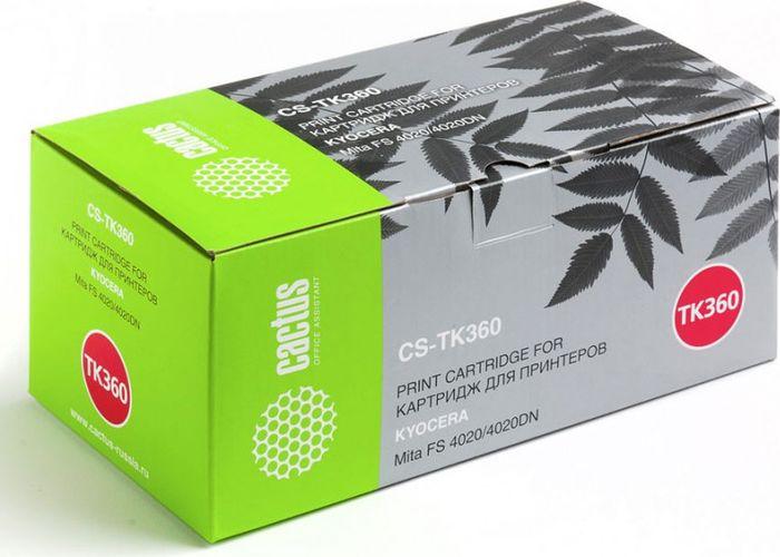 Cactus CS-TK360, Black тонер-картридж для Kyocera Mita FS 4020/4020DNCS-TK360Тонер-картридж Cactus CS-TK360 для лазерных принтеров Kyocera Mita FS 4020/4020DN. Расходные материалы Cactus для лазерной печати максимизируют характеристики принтера. Обеспечивают повышенную чёткость чёрного текста и плавность переходов оттенков серого цвета и полутонов, позволяют отображать мельчайшие детали изображения. Гарантируют надежное качество печати.