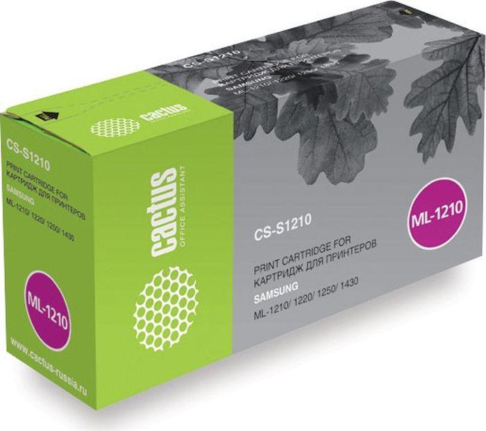 Cactus CS-S1210, Black тонер-картридж для Samsung ML-1210/1220/1250/1430CS-S1210Тонер-картридж Cactus CS-S1210 для лазерных принтеров Samsung ML-1210/1220/1250/1430. Расходные материалы Cactus для лазерной печати максимизируют характеристики принтера. Обеспечивают повышенную чёткость чёрного текста и плавность переходов оттенков серого цвета и полутонов, позволяют отображать мельчайшие детали изображения. Гарантируют надежное качество печати.