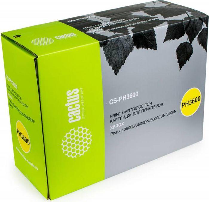 Cactus CS-PH3600 106R01371, Black тонер-картридж для Xerox Phaser 3600/3600b/3600dn/3600nCS-PH3600Тонер-картридж Cactus CS-PH3600 106R01371 для лазерных принтеров Xerox Phaser 3600/3600b/3600dn/3600n. Расходные материалы Cactus для лазерной печати максимизируют характеристики принтера. Обеспечивают повышенную чёткость чёрного текста и плавность переходов оттенков серого цвета и полутонов, позволяют отображать мельчайшие детали изображения. Гарантируют надежное качество печати.