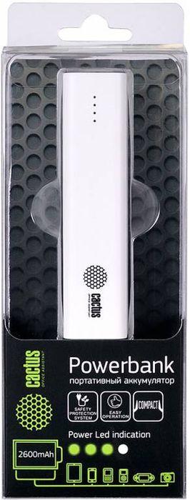 Cactus CS-PBAS120-2600WT, White внешний аккумулятор (2600 мАч)CS-PBAS120-2600WTМодель мобильного аккумулятора Cactus CS-PBAS120-2600 имеет доступную цену и компактный размер. Этот PowerBank предназначен для тех, кому необходим доступный вариант дополнительной батареи для мобильных устройств, а также тех, кто хочет очень легкое и портативное зарядное устройство. Для зарядки устройств используется USB выход, а индикатор заряда аккумулятора даст понять, когда нужно зарядить пауэрбанк.