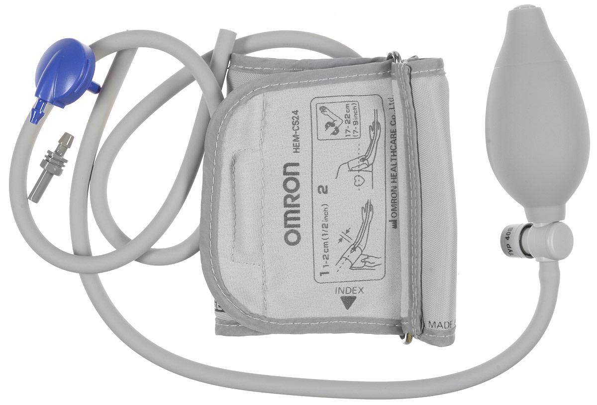 Манжета Omron CS2 Small Cuff and Inflation Bulb (HEM-CS24) педиатрическая c грушейУТ000001264Малая (педиатрическая) веерообразная манжета Omron CSB2 (HEM-CSB24) с грушей, для рук с охватом плеча 17 - 22 см., разработана для детей и взрослых хрупкого телосложения и подходит для всех полуавтоматических тонометров Omron с фиксацией манжеты на плечо.