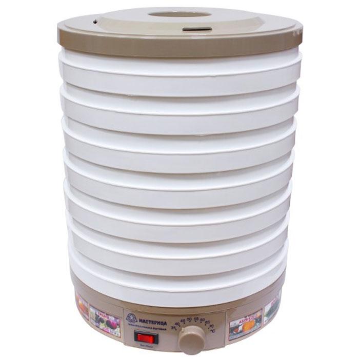 Мастерица ЭСБ-15/25-450, White сушилка для овощейЭСБ-15/25-450Засушивание овощей, фруктов, грибов, зелени - отличная возможность запастись вкуснейшими продуктами на зиму, когда как никогда не хватает витаминов. Обеспечить это позволяет сушилка для овощей Мастерица ЭСБ- 15/25-450, имеющая в конструкции 7 поддонов. Объем сушильной камеры находится в пределах от 15 до 25 литров. Прибор прост в управлении и рассчитан на нагрузку до 7 кг. В приборе не предусмотрена защита от перегрева.