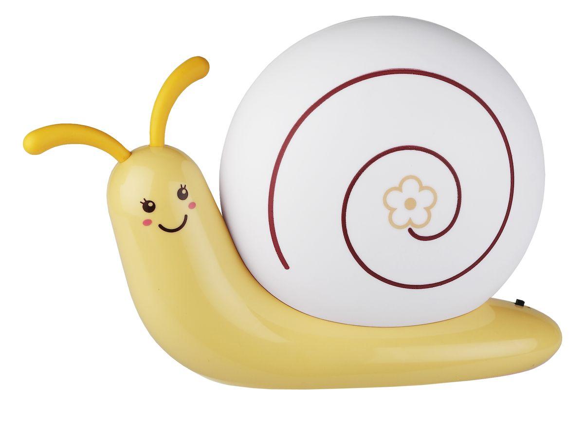 Настольный светильник ЭРА NLED-405-0.5W-Y, цвет: желтыйNLED-405-0.5W-YСветильник-ночник со светодиодами (LED) в качестве источников света. Встроенный аккумулятор для автономной работы. Сетевой адаптер в комплекте. Светильник работает во время зарядки от сети. Выключатель на основании светильника. Детский дизайн в виде улитки с поворачивающимися рожками. Мягкий, но достаточно ярки свет.