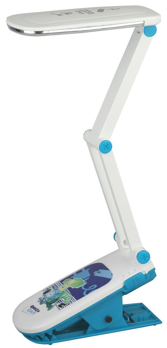 Настольный светильник ЭРА Фиксики. NLED-424-2.5W-BU, цвет: синийNLED-424-2.5W-BUСветильник со светодиодами (LED) в качестве источников света, которые экономят до 90% электроэнергии и не требуют замены на протяжении всего срока службы светильника. Дизайн светильника и упаковка в тематике мультсериала Фиксики. Аккумулятор для автономной работы, два режима - максимальная яркость и приглушенный свет. Съемный сетевой шнур в комплекте. Модель на прищепке. Выключатель на основании. Теплый свет, аналогичный свету лампы накаливания - цветовая температура 3000К.