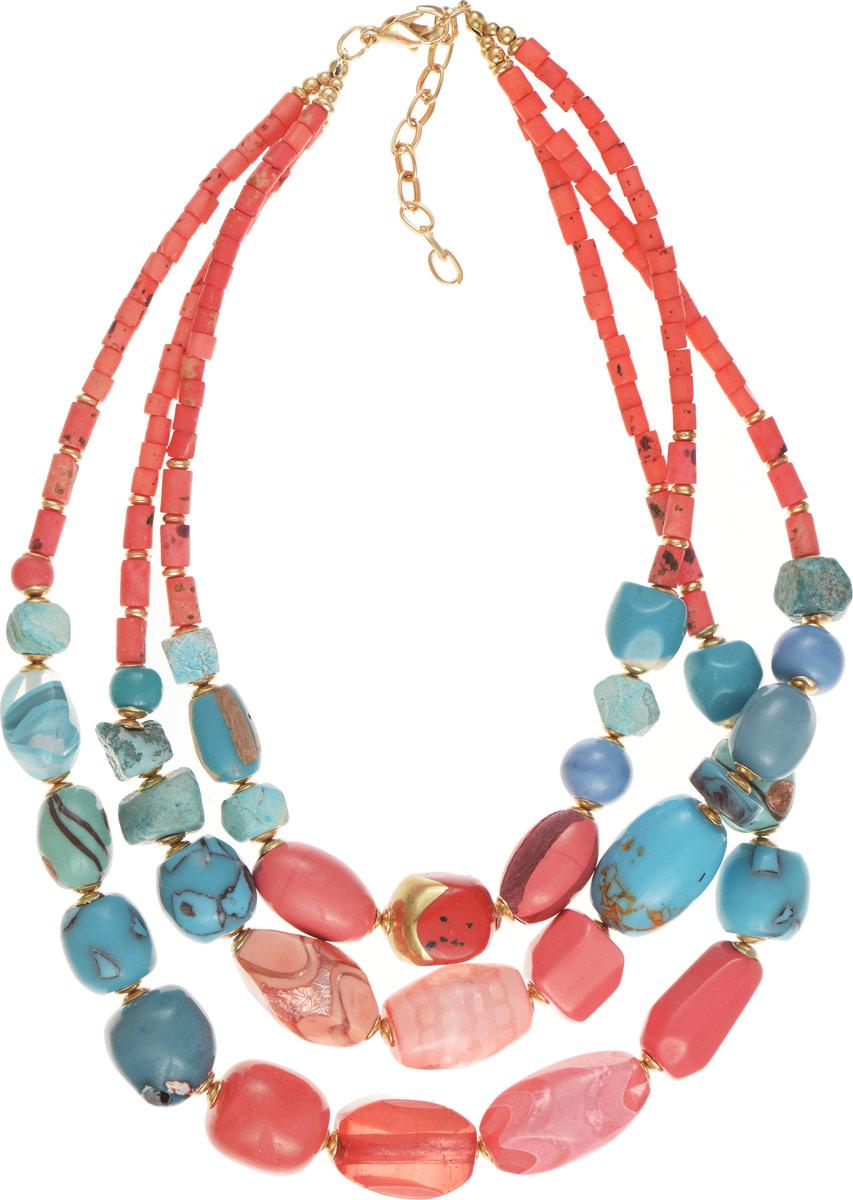 Selena Селена Колье Selena Vista Mara, цвет: бирюзовый, коралловый. 10100851