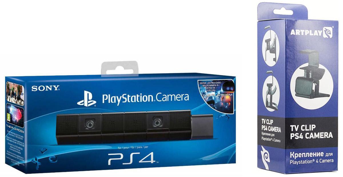 Sony камера для PS4 (CUH-ZEY1/R) + крепление Artplays для камеры Playstation (PS-4002)CUH-ZEY1/R + PS-4002Камера Sony для PS4 – прекрасное дополнение к игровой консоли нового поколения Sony PlayStation 4, которая сделает игры еще более увлекательными. Стильный дизайн: Камера заключена в компактный корпус в виде черного глянцевого бруска, сегментированного на семь частей. Блок из шести сегментов поворачивается на любой угол, а оставшийся сегмент нужен как раз для фиксации этого наклона. Именно в поворотной части располагаются четыре сегмента с микрофонами и два с собственно камерами, которые имеют угол обзора 85 градусов по диагонали и позволяют записывать видео в HD-качестве. Уверенная работа: Две камеры Sony Camera в сочетании с контролером DUALSHOCK максимально точно определяют положение пользователя в комнате и следят за его жестами. Кроме того, благодаря камере консоль может распознавать лица пользователей, загружая необходимый профиль, и реагирует на ряд голосовых команд. Серьезный потенциал: В настоящее время...